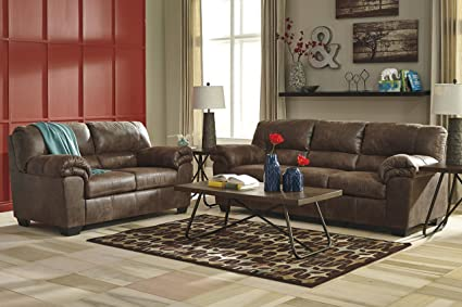 Amazon Com Bladen Contemporary Coffee Color Faux Leather Sofa And