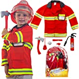 Next Milestones Firefighter Costume for Boys and Girls 9 Pieces Pretend Play Set for Kids - Fireman Toys Include Axe…