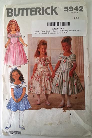 Amazon.com: Butterick Sewing Pattern 5942 Girls\' Formal Dresses ...