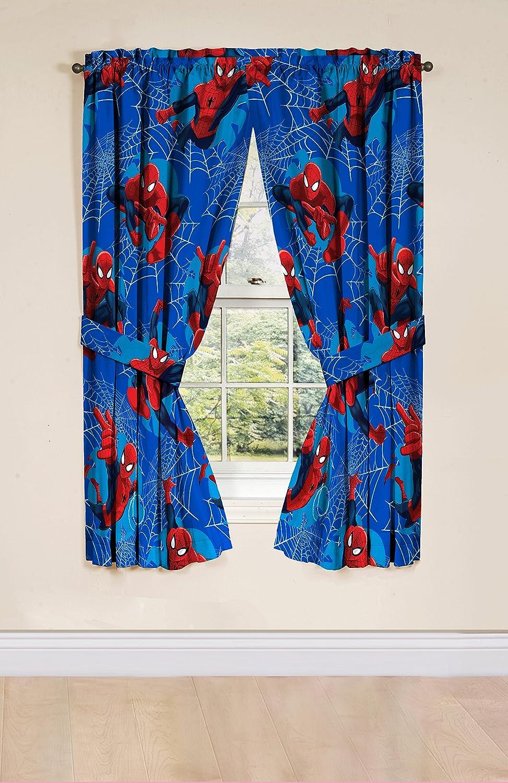 Marvel Spiderman Astonish 63' Window Drapery/Curtain 4pc Set (2 Panels, 2 Tie backs