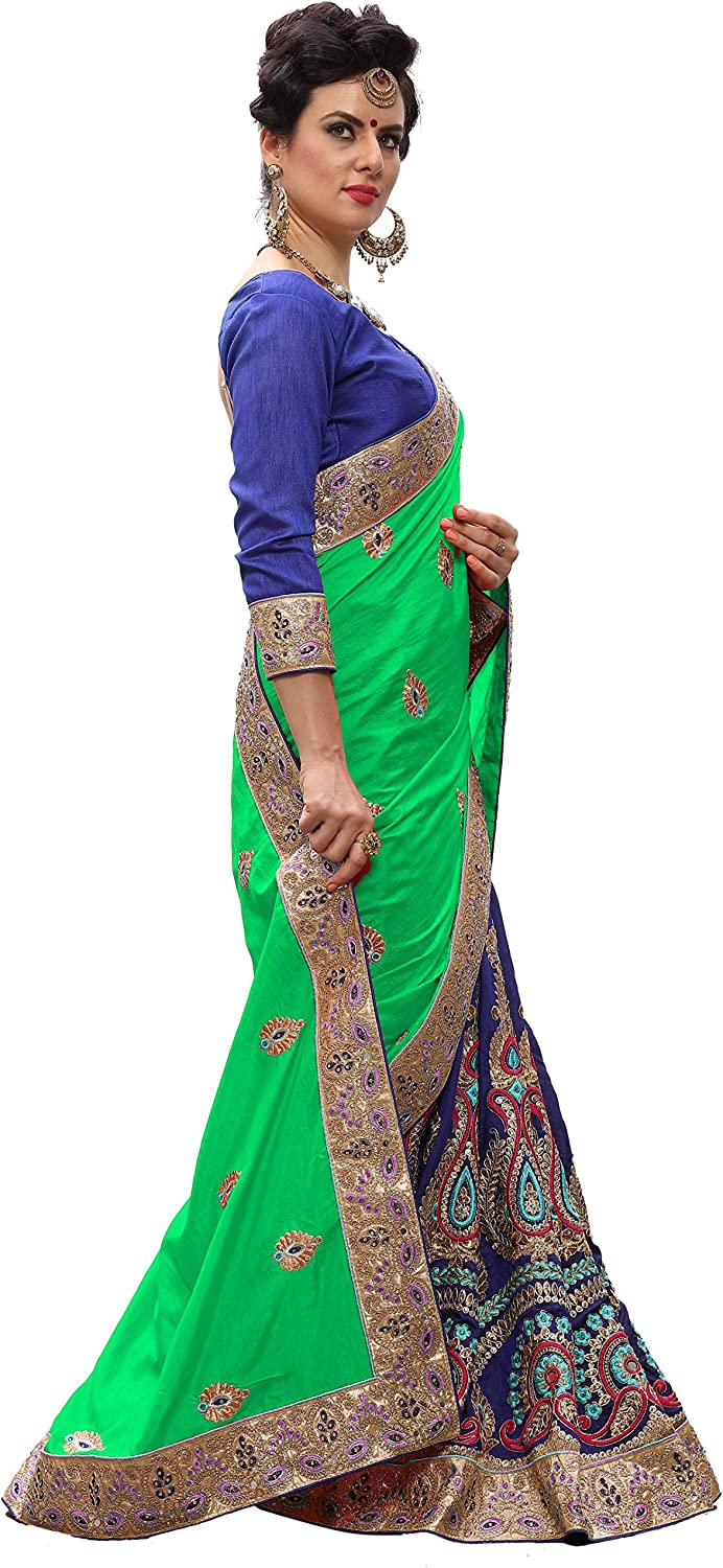 K712 Nivah Fashion Womens Silk Embroidery Saree with Blouse Piece