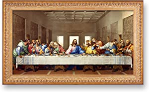 A&T ARTWORK The Last Supper by Leonardo Da Vinci The World Classic Art Reproductions, Giclee Prints Framed Wall Art for Home Decor, Image Size:30x16 inches, Framed Size:34.5x20.5 inchs