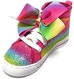 Jojo Siwa Girls Shoes Sneakers High Top Glitter Rainbow Tye Dye with Bow (Rainbow Glitter, 3 Big Kid)