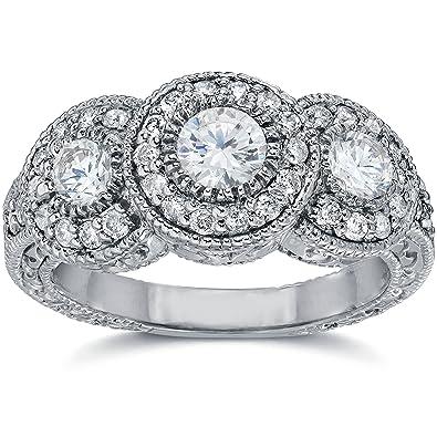 Awesome 1 1/2ct Vintage Three Stone Diamond Engagement Ring 14K White Gold