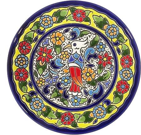 Grabado y Cerámica Española Platos Decorativos para Pared, Pintados a Mano con la técnica de la Cuerda Seca. Cerámica Andaluza 14 CM.51406: Amazon.es: Hogar