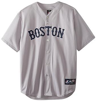 77f67cc68 MLB Boston Red Sox Hideki Okajima Road Gris Manga Corta 6 Botón sintética  Réplica de béisbol Jersey Primavera 2012 de los Hombres
