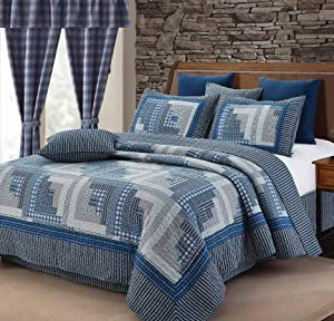 Montana Cabin Blue/Gray Quilt Set Queen