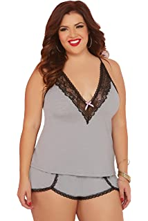 8418953db12 Seven  til Midnight Women s Plus Size Jersey Knit and Lace Trim Cami and  Short Set