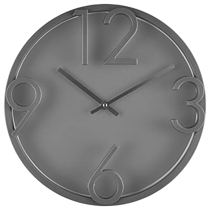 nice looking modern wall clocks amazon. Bernhard Products  Large Modern Wall Clock 12 quot Gray Quality Quartz Battery Operated Round Amazon com
