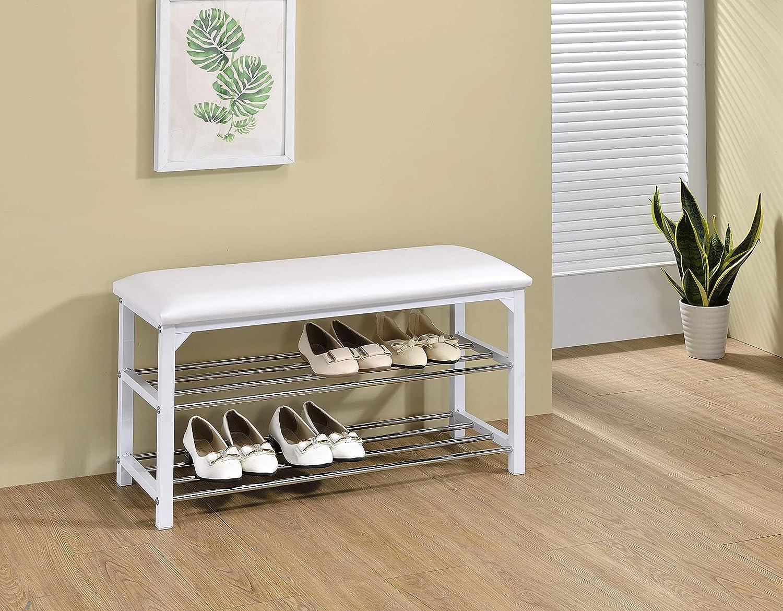 Kings Brand Furniture - Saverse Entryway Shoe Rack Storage Bench Organizer, White