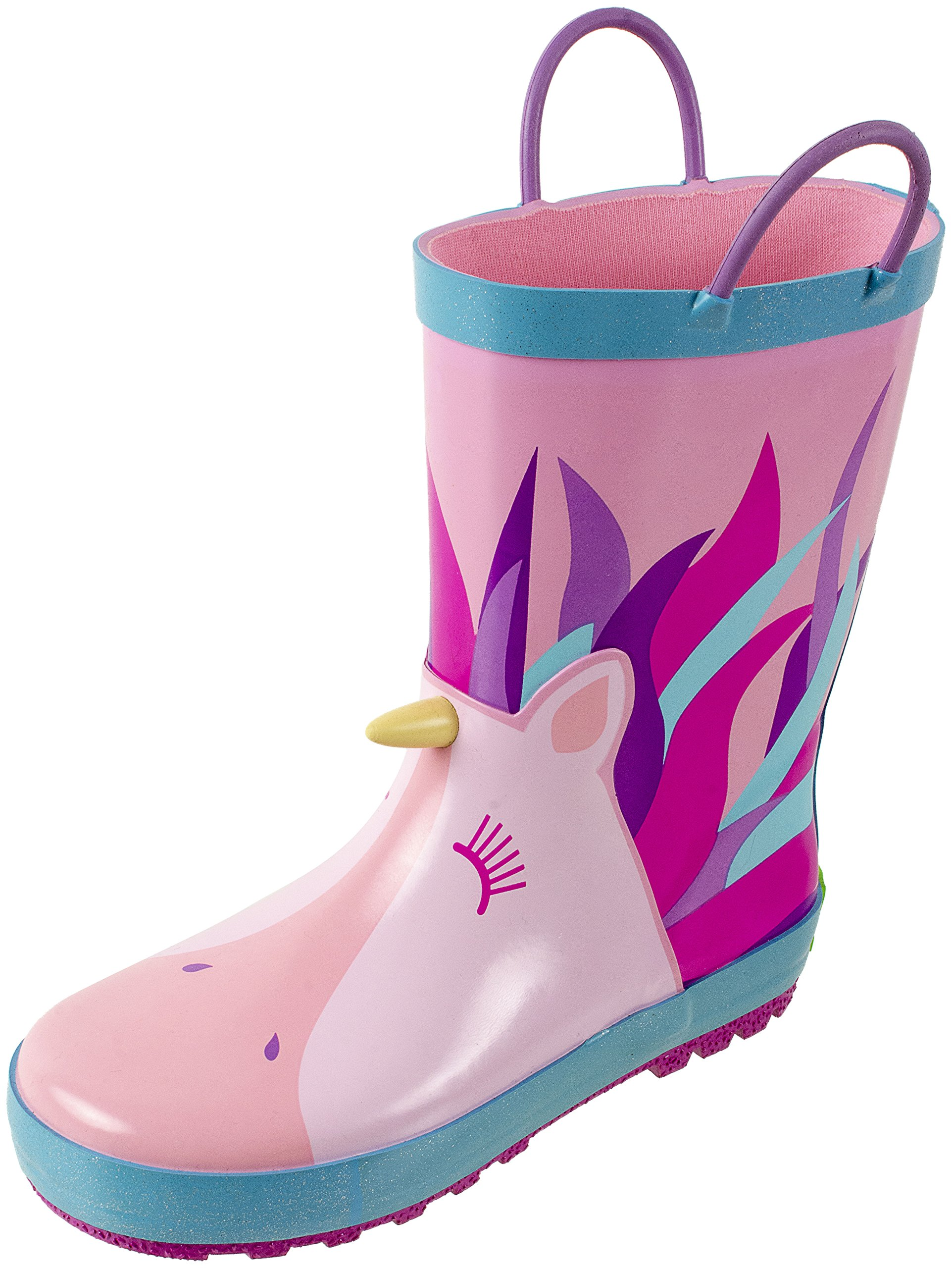 Rainbow Daze Unicorn Printed Waterproof Kids Rain Boots with Easy-on Handles, 100% Rubber, Ages 2 to 9 (9/10, Unicorn Pink)