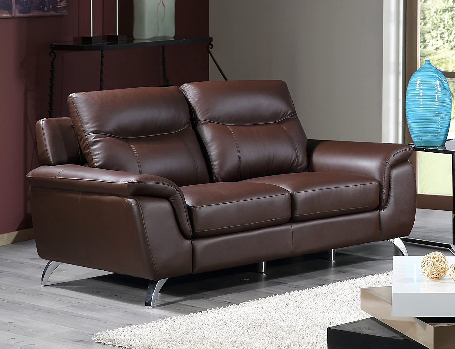 amazoncom cortesi home chicago genuine leather sofa u0026 loveseat set brown home u0026 kitchen