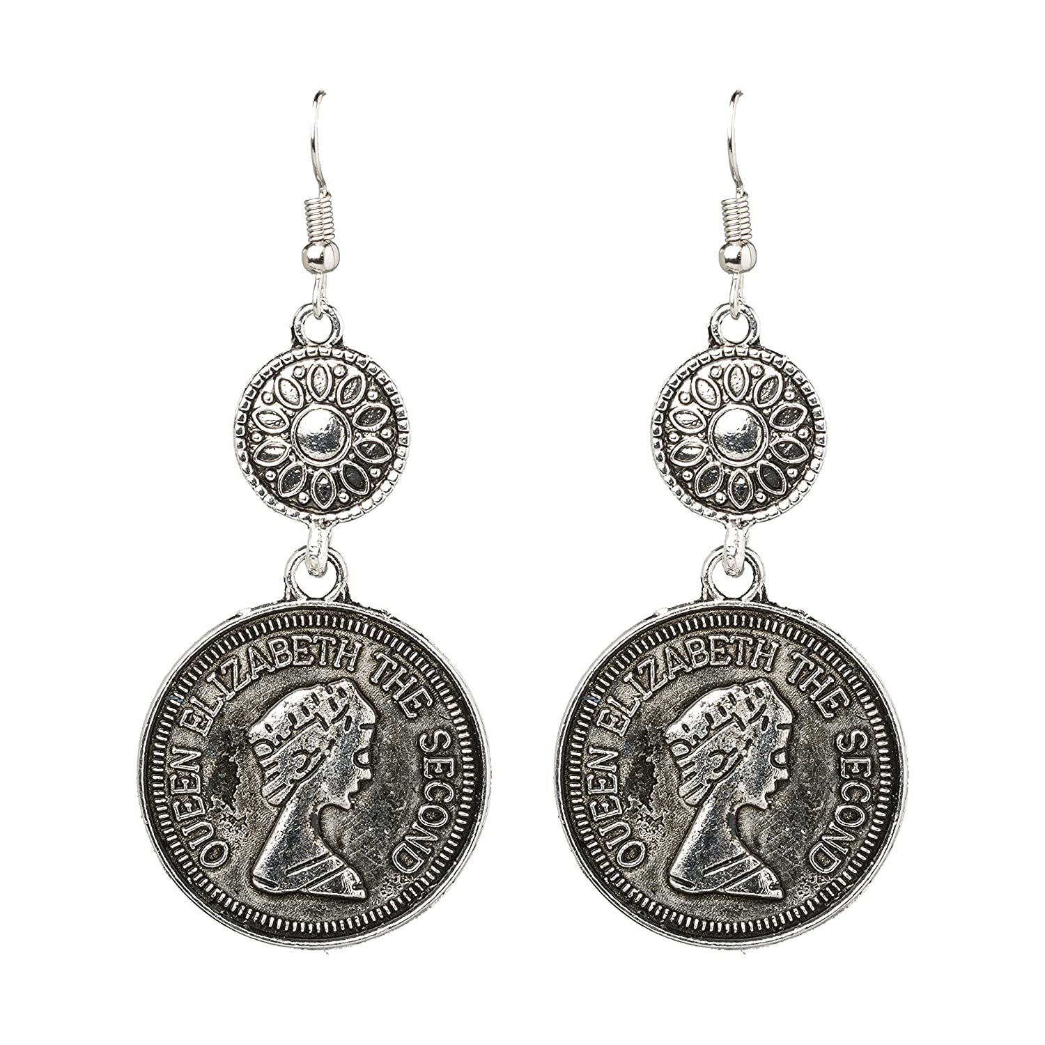 312831679 Amazon.com: Bodha 925 Antique Silve Tribal Gypsy Coin Earring (SJ_899):  Jewelry