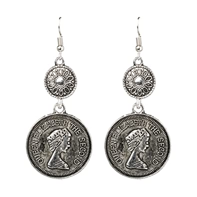 03be21610 Amazon.com: Bodha 925 Antique Silve Tribal Gypsy Coin Earring ...