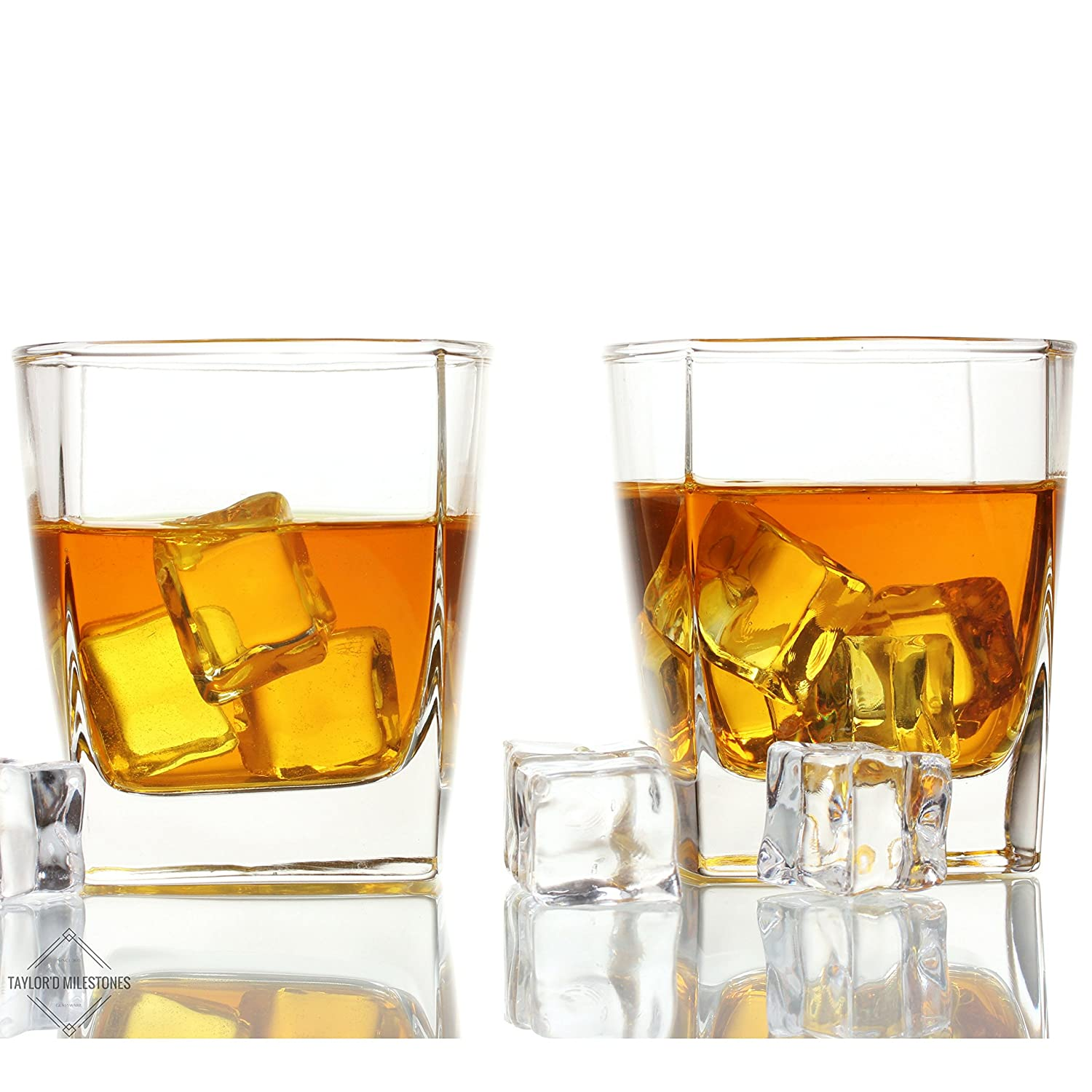 Whiskey Glass by Taylor'd Milestones - 10.5 oz Scotch Glasses. Gift Set Includes 2 Old Fashioned Tumblers with Square Base. Diamond Etched, Rocks Glassware for Bourbon, Home Bar & Everyday Use. Sterling
