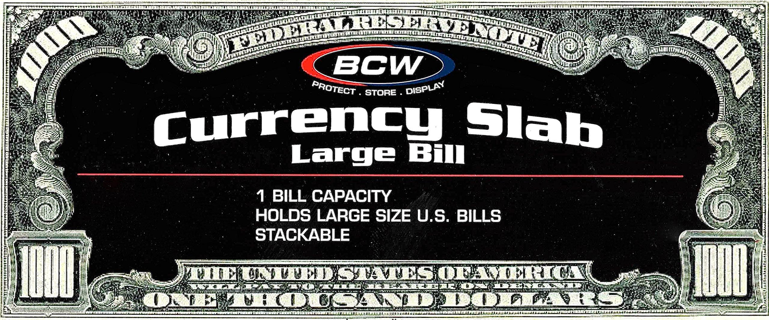 (10) US Currency Paper Money Bill Protector Slab Holder for Large Older Bills by BCW
