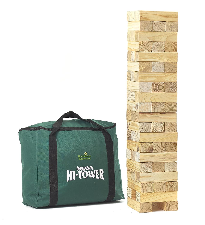 Garden Games Mega Hi-Tower - Riesenwackelturm KieferBlock-Spiel, 1.5 m