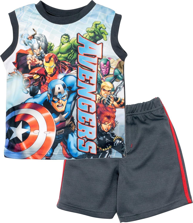 1aff88e6f3bc3 Amazon.com  Marvel Avengers Toddler Boys  Tank Top   Mesh Shorts Clothing  Set (2T)  Clothing