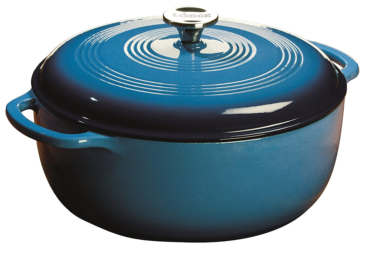 Lodge 7.5 Quart Enameled Cast Iron Dutch Oven. XL Blue Enamel Dutch Oven (Carribean Blue) - EC7D33