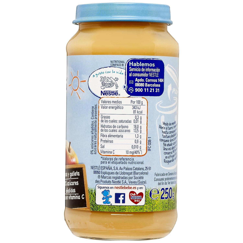 NESTLÉ Purés Merienda, tarrito de puré de fruta y galleta sin gluten, variedad Postre 6 frutas con Galleta, para bebés a partir de 4 meses - Paquete de 6 ...