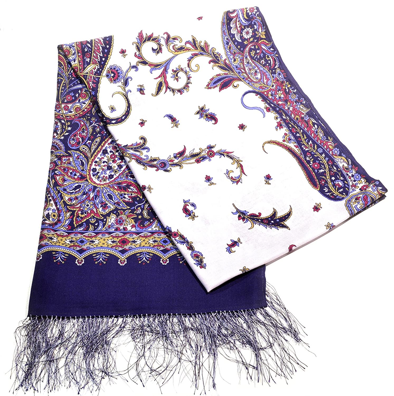 100% Wool Purple Luxury Floral Shawl with Silk Fringe