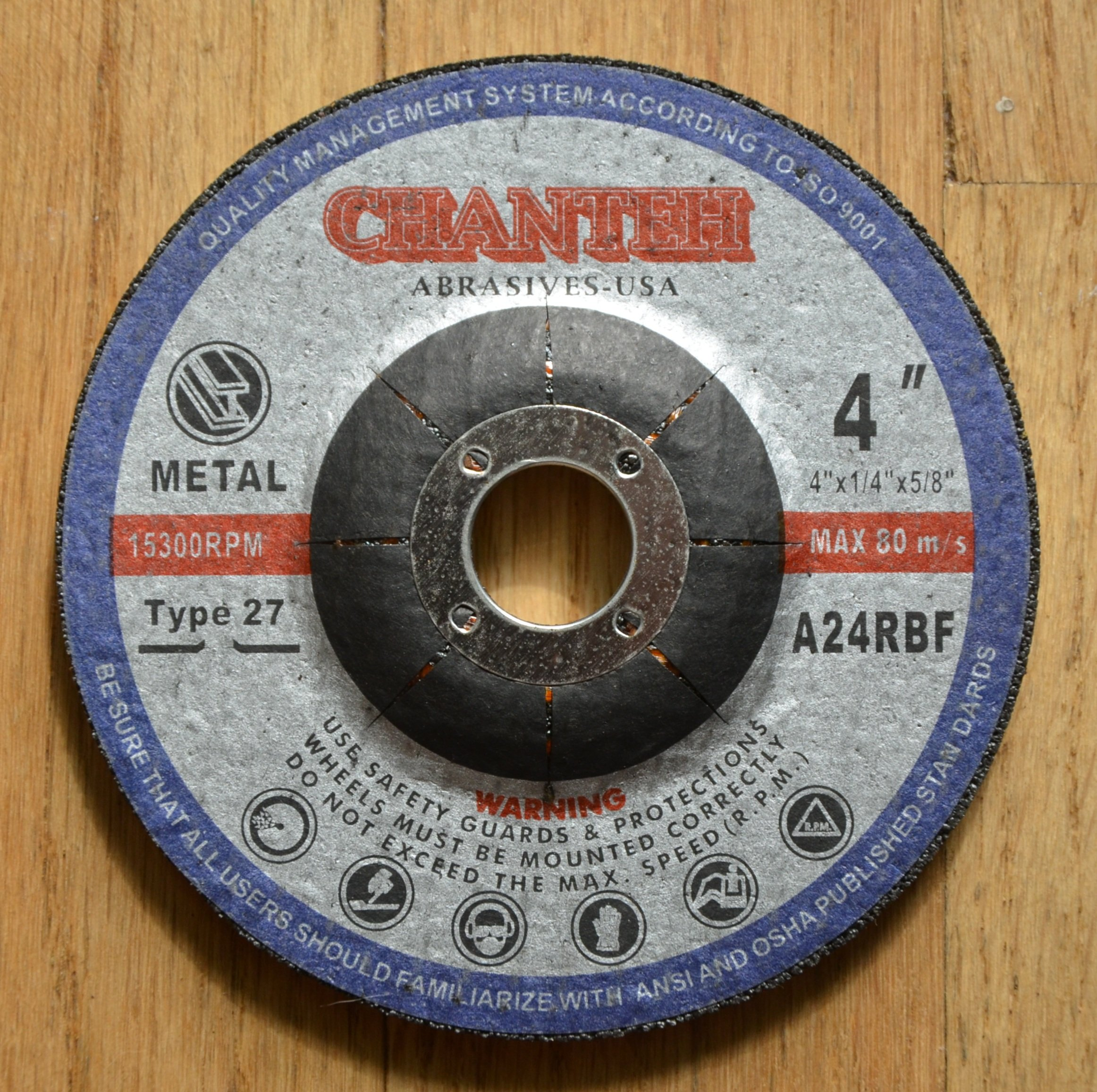 4'' x 1/4'' x 5/8'' Metal Grinding Wheel for Angle Grinder tool - 10 Pack