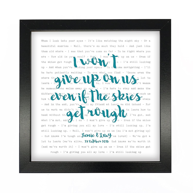 Amazon.com: Jason Mraz, I Won\'t Give Up, Song Lyrics Print Framed ...