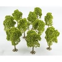 wws Pack de 10 Arbres à Feuilles Caduques Verts Clairs (80 mm) par Paysage miniature, Terrain, Décor, Modélisme Ferroviaire – Echelle 00