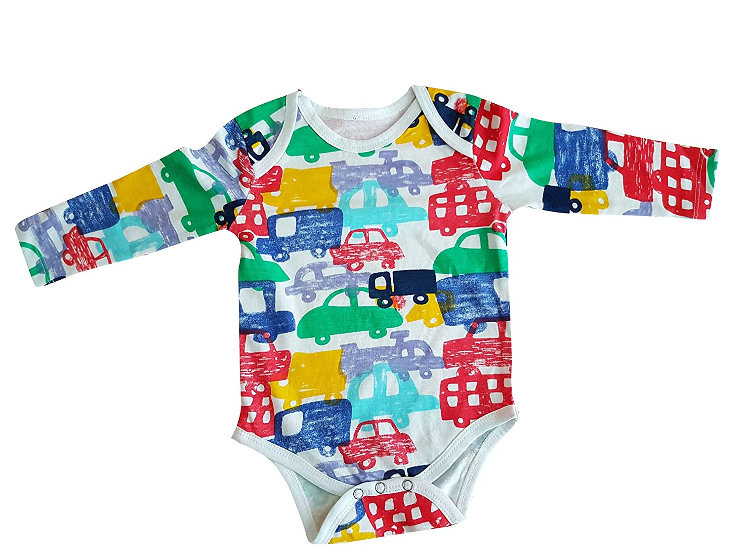 6 Rompers Cars Print Long Sleeve Body Vests Rompers (18-24 Months)