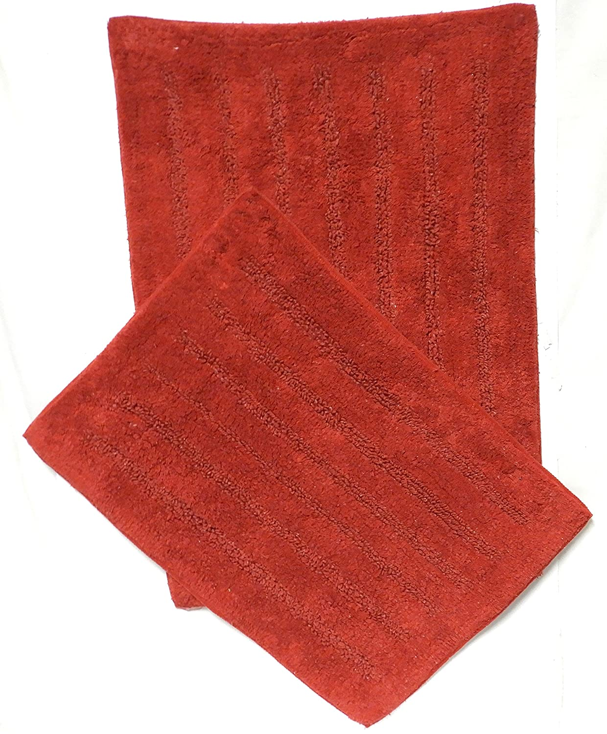 DINY Home & Style 2 Piece 100% Cotton Bath Rug Set Bathroom Mat Ultra Absorbent Machine Washable Dark Red Dependable Industries inc