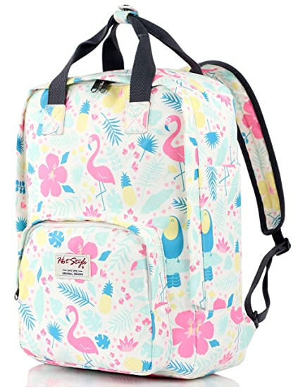 df1ff12664 HotStyle Funny Flamingos Print Book Bag Backpack for Girls Holds 14-inch  Laptop