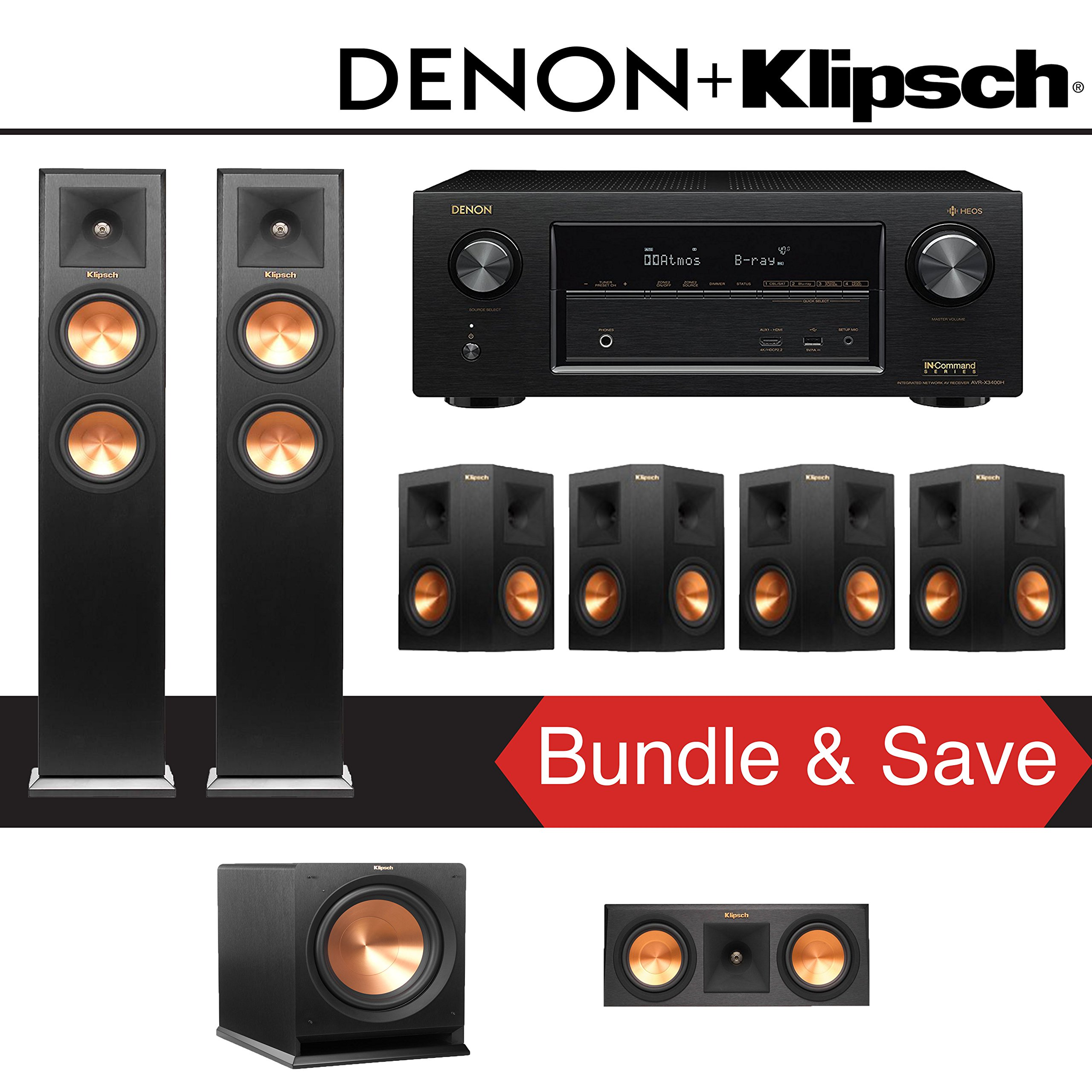 Klipsch RP-250F 7.1-Ch Reference Premiere Home Theater System with Denon AVR-X3400H 7.2-Channel 4K Network AV Receiver