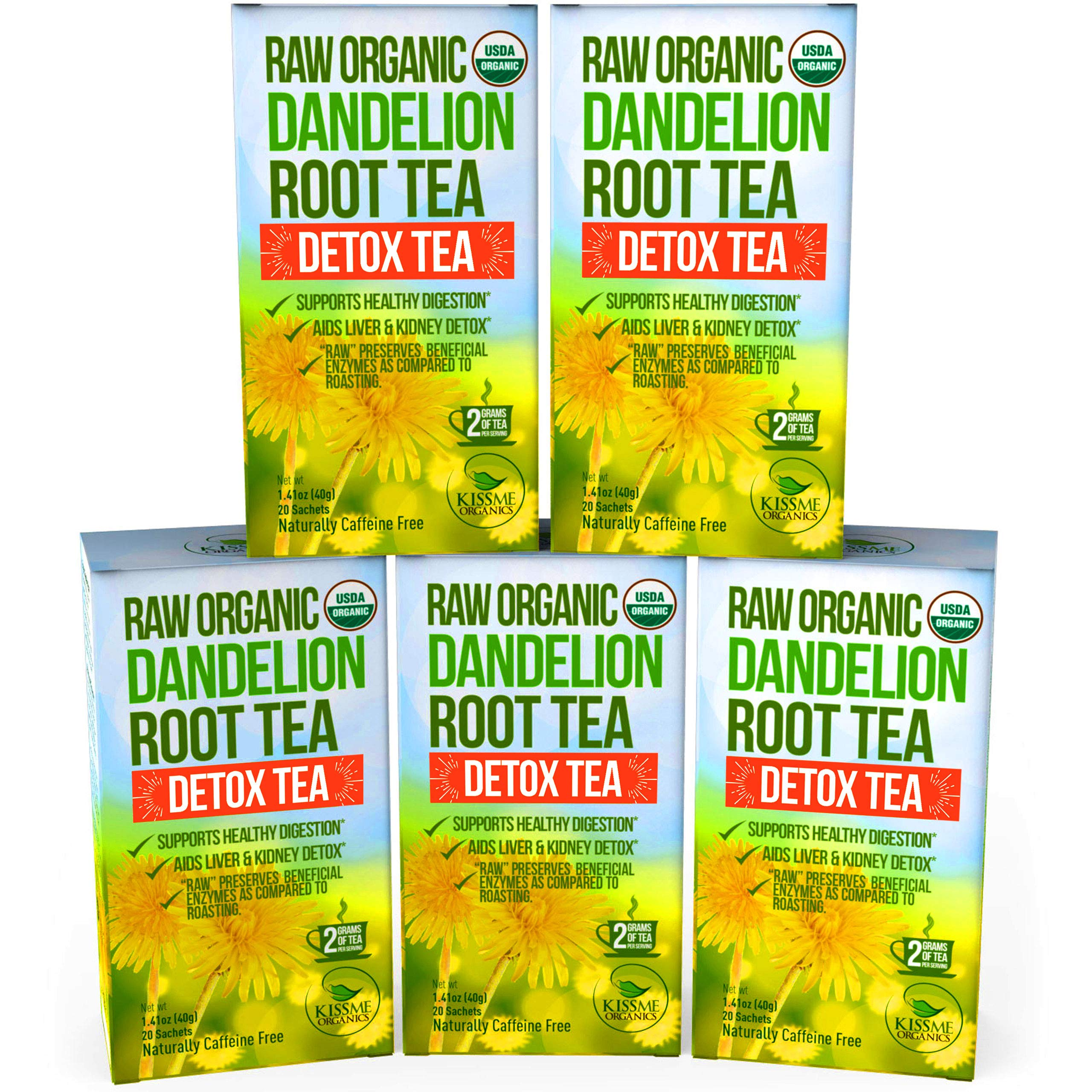 Dandelion Root Tea Detox Tea - Raw Organic Vitamin Rich Digestive - 5 Pack (100 Bags, 2g Each) - Helps Improve Digestion and Immune System - Anti-inflammatory and Antioxidant by Kiss Me Organics