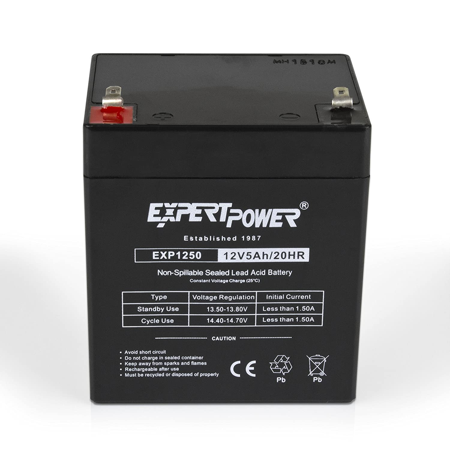 EXP1250 12V 5Ah Home Alarm Battery with F1 Terminals // Chamberlain / LiftMaster / Craftsman 4228 Replacement Battery for Battery Backup Equipped ...