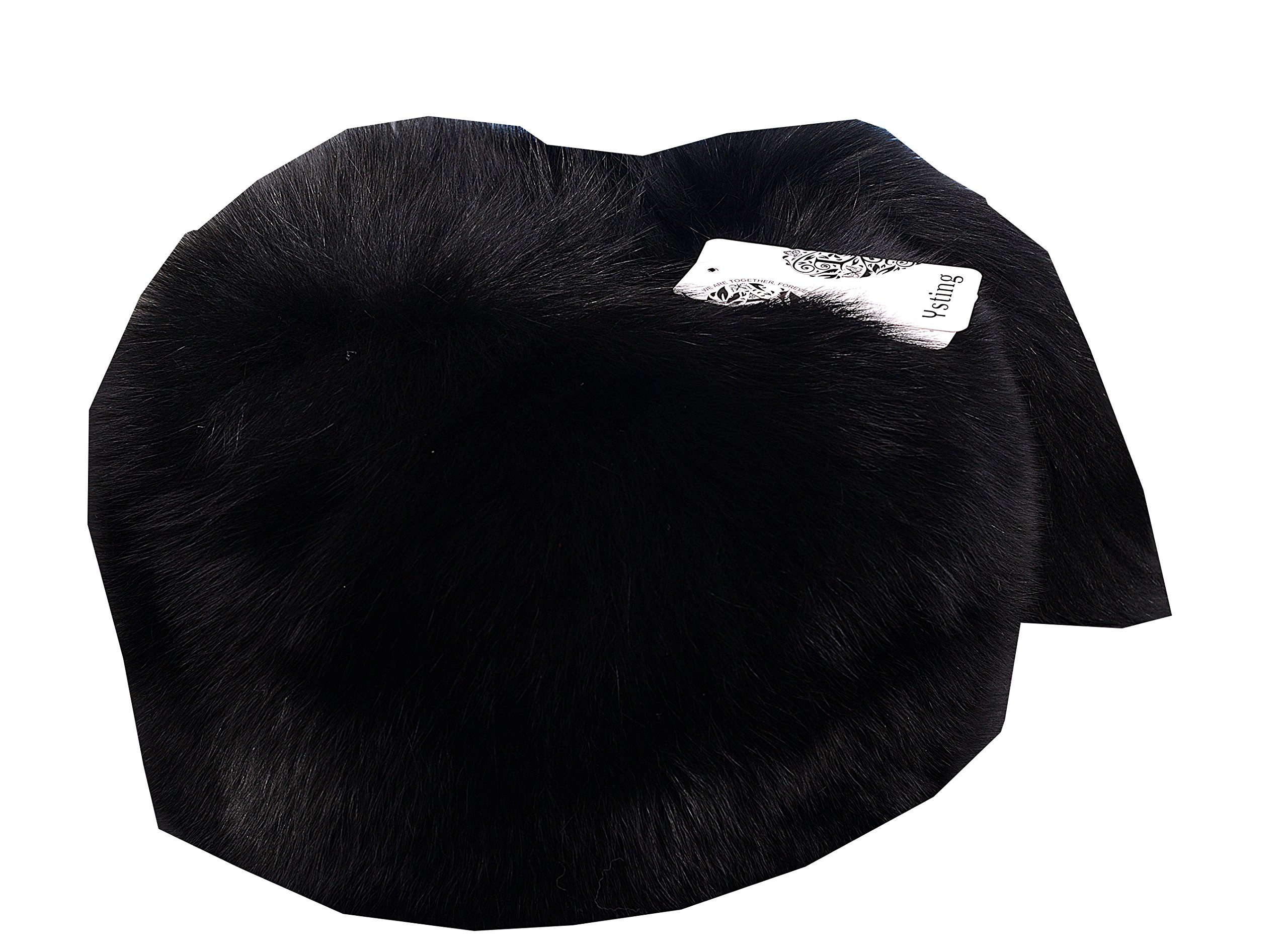 Ysting Women's Mongolian Genuine Fox Fur Hat with Tail Russian Style Winter Hats (Black)