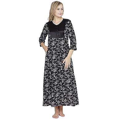 3c6d817701 Patrorna Cotton Silk Blend Women s Shift Nighty Night Dress Gown in Black  Print (Size S-7XL