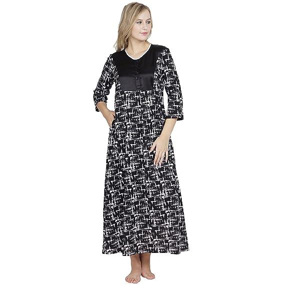 Patrorna Cotton Modal Women\'s Shift Nighty Night Dress/Gown in Black ...