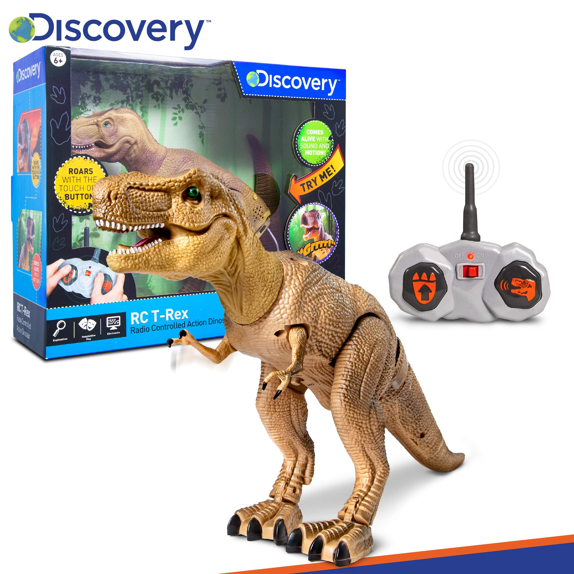 Discovery Kids Remote Control RC T Rex Dinosaur Electronic Toy Action Figure Moving & Walking Robot w/Roaring Sounds & Chomping Mouth, Realistic Plastic Model, Boys & Girls 6 Years Old+ by Discovery Kids (Image #8)