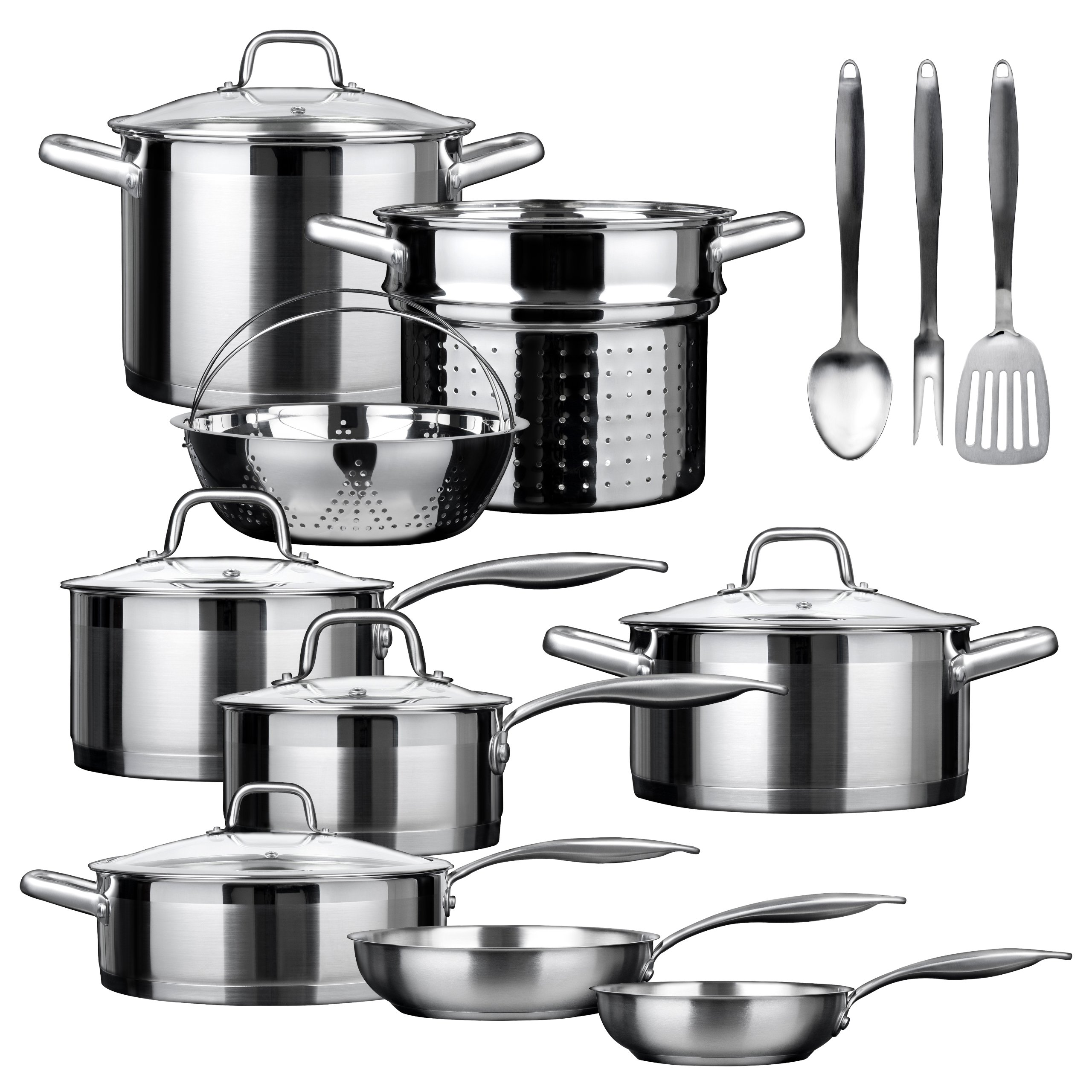 Duxtop SSIB-17 Professional 17 piece Stainless Steel Induction Cookware Set, Impact-bonded Technology