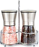 Premium Stainless Steel Salt and Pepper Grinder Set With Stand - Salt and Pepper Shakers with Adjustable Coarseness - Salt Grinders and Pepper Mill Shaker Mills Set