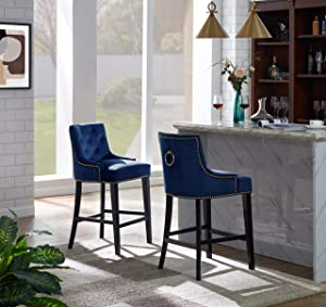 Iconic Home FCS9439-AN Lyric Counter Stool Chair Button Tufted Velvet Upholstered Nailhead Trim Swoop Arm Seat Pull Ring Espresso Finished Tapered Wood Legs Modern Transitional, Navy