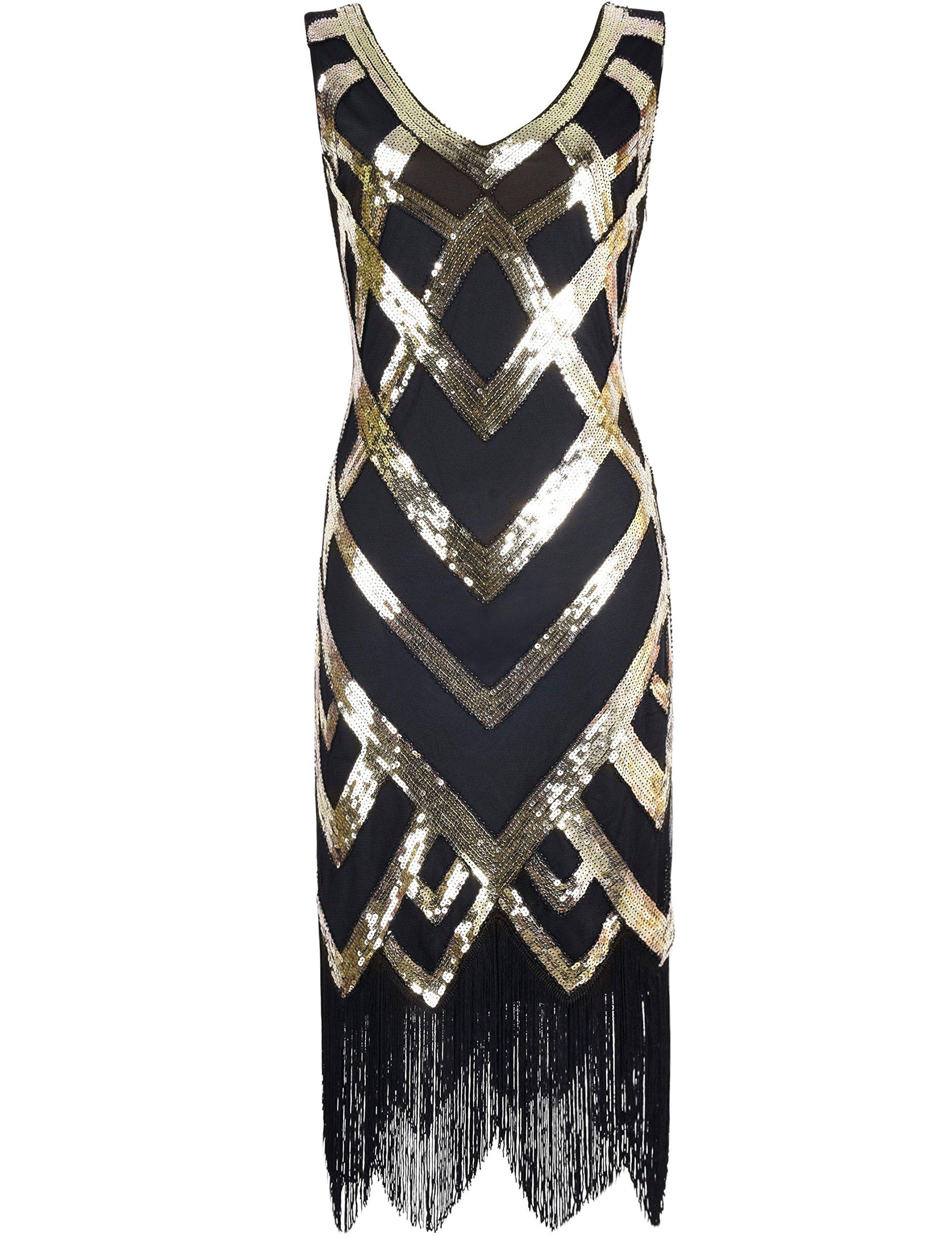 Kayamiya Women's 1920S Sequined Beaded Embellishment Gatsby Prom Dress XXL Gold