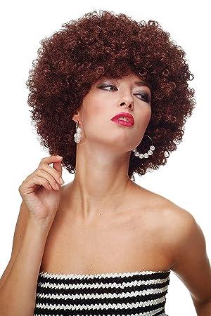 WIG ME UP ® - Peluca afro marrón mahagoni Funk Disco años 70 años 80 Foxy