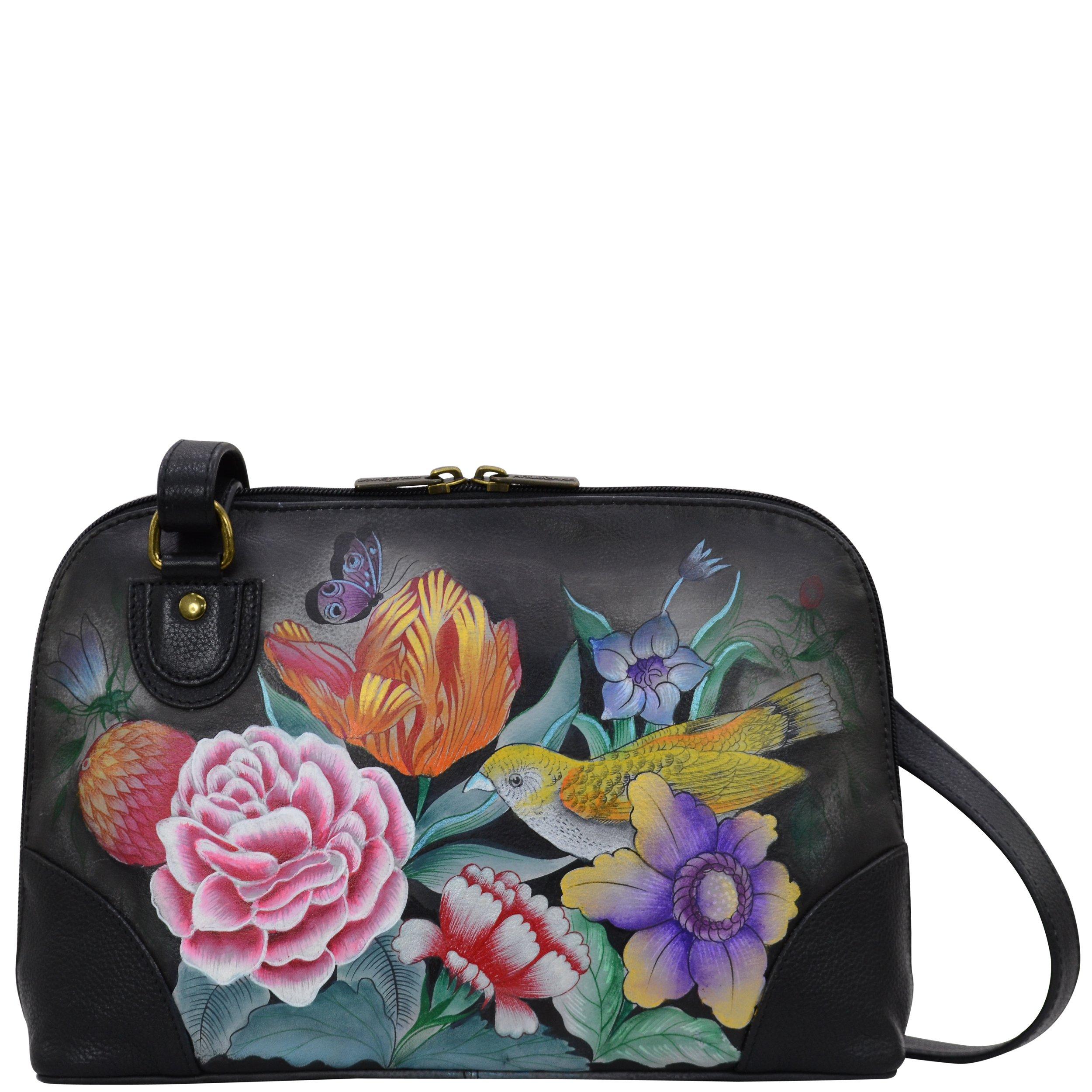 Anuschka Hand Painted Designer Leather Handbag-Christmas gifts for women-Multi Compartment Zip-Around organiser (Vintage Bouquet 531 VBQ)