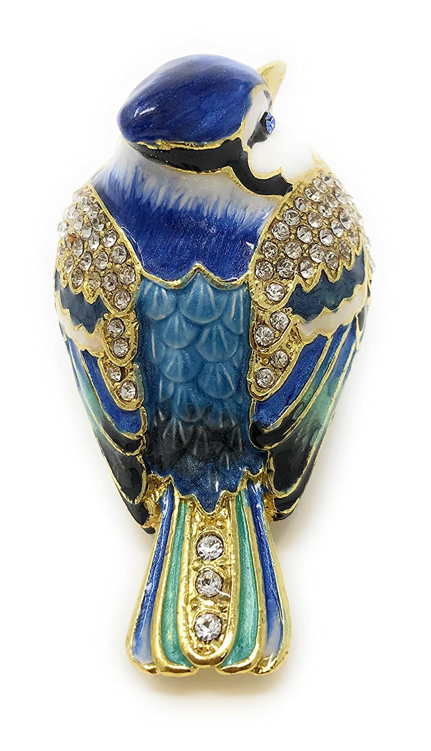 Accented with Austrian Crystals Kubla Crafts Enameled Blue Jay Bird Trinket Box