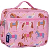 Wildkin Lunch Box, Insulated, Moisture Resistant, and Easy to Clean with Helpful Extras for Quick and Simple Organization, Ages 3 plus, Perfect for Kids or On The Go Parents, Olive Kids Design, Horses