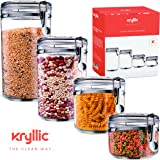 Food Storage containers canister set - Cereal Container Air Tight Canisters with lids for the dry flour coffee rice acrylic plastic clear glass airtight cannister sets for kitchen pantry organizer jar
