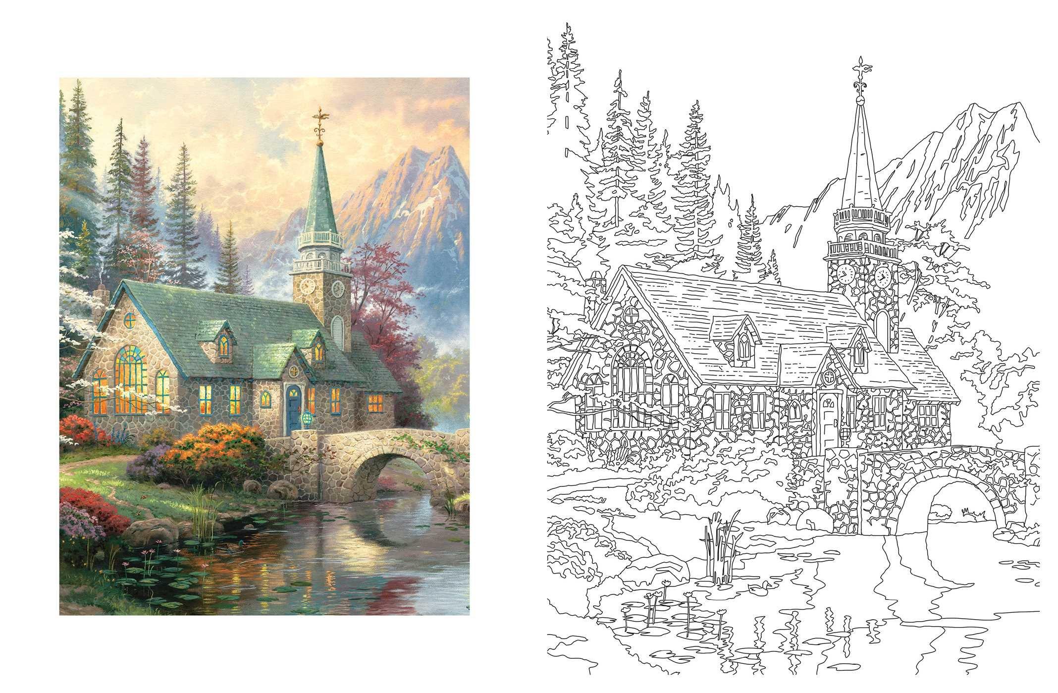 Amazon Com Posh Adult Coloring Book Thomas Kinkade Designs For