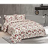 haus & kinder Floral Grace Bedsheet, 100% Cotton Bedsheet King Size with 2 Pillow Covers, 186 TC, King Size (Red)