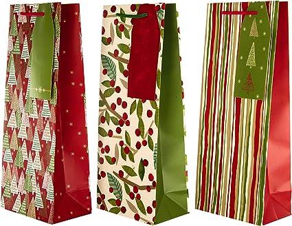 Hallmark – Tarjeta de felicitación de Navidad bolsa de regalo – Pack de 3 bolsas de regalo para botellas: Amazon.es: Oficina y papelería